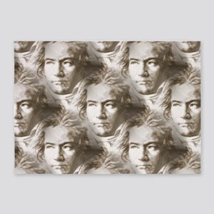 Beethoven Portrait Pattern 5'x7'Area Rug