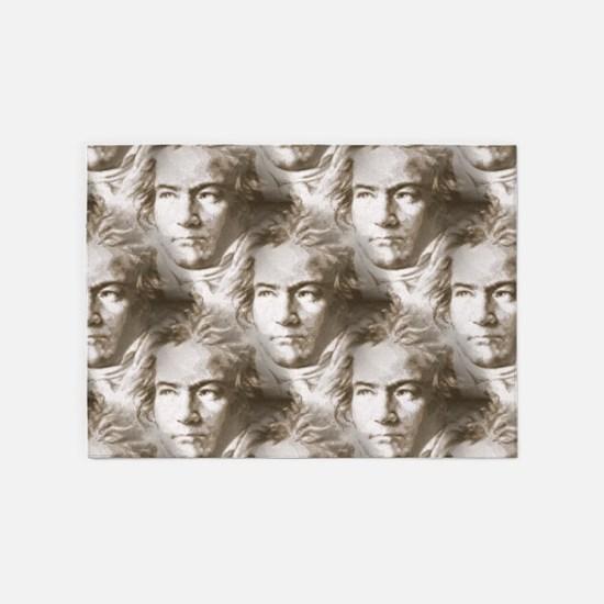 Beethoven Portrait Pattern 5'x7'Area Rug