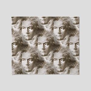 Beethoven Portrait Pattern Throw Blanket