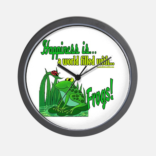 Happiness is a Frog Wall Clock