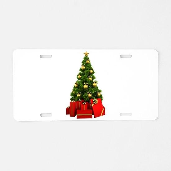Christmas Tree Aluminum License Plate