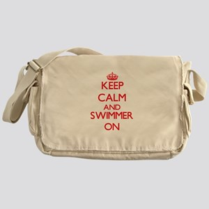 Keep Calm and Swimmer ON Messenger Bag