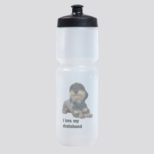 FIN-wirehaired-dachshund-love Sports Bottle