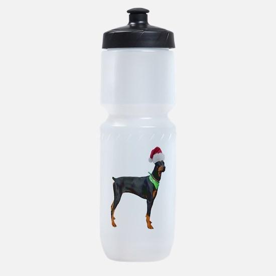 FIN-santa-doberman-CROP.png Sports Bottle