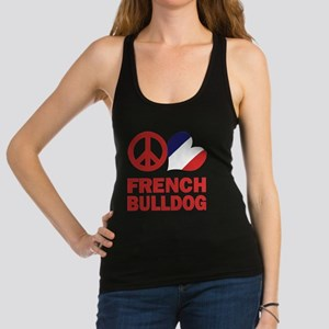 FIN-peace-love-french-bulldog-FLAG Racerback T