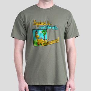 Happiness is Dinosaurs Dark T-Shirt