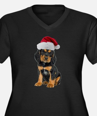 Gordon Setter Santa Women's Plus Size V-Neck Dark