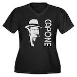 Capone Women's Plus Size V-Neck Dark T-Shirt