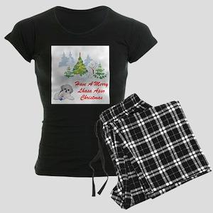 FIN-christmas-lhasa-apso Women's Dark Pajamas