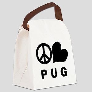 FIN-peace-love-pug Canvas Lunch Bag