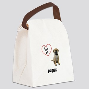 3-FIN-puggle-love Canvas Lunch Bag