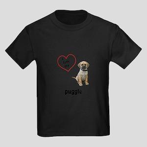 3-FIN-puggle-love Kids Dark T-Shirt
