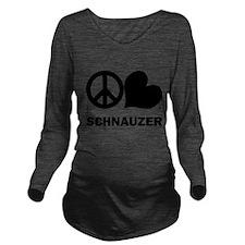 FIN-peace-love-schnauzer Long Sleeve Maternity