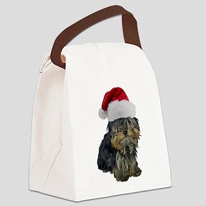 FIN-santa-yorkie-CROP Canvas Lunch Bag