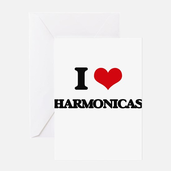 I Love Harmonicas Greeting Cards