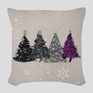 Asexual Christmas Trees Woven Throw Pillow