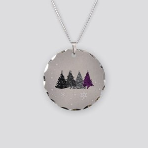 Asexual Christmas Trees Necklace Circle Charm