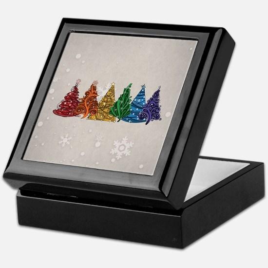 Rainbow Christmas Trees Keepsake Box