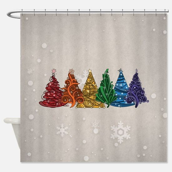 Rainbow Christmas Trees Shower Curtain