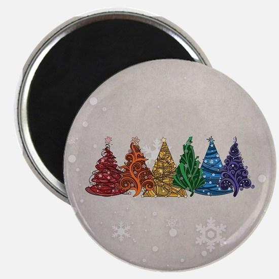 "Rainbow Christmas Trees 2.25"" Magnet (10 pack)"