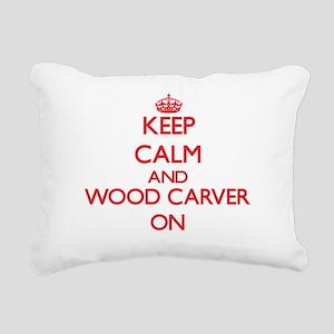 Keep Calm and Wood Carve Rectangular Canvas Pillow