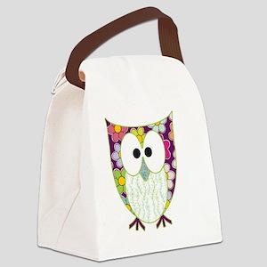 Floral Patchwork Owl Canvas Lunch Bag