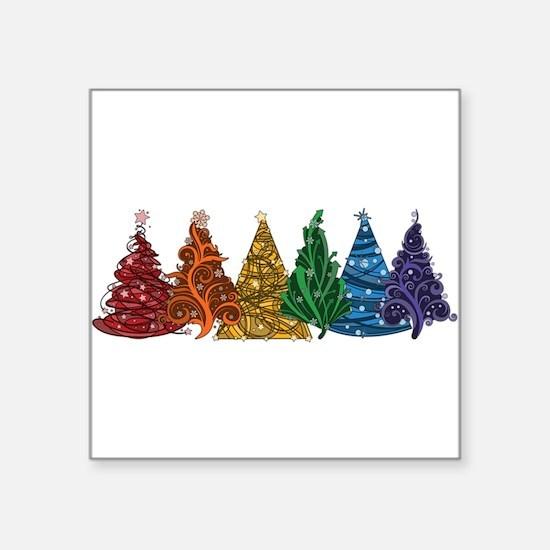 Rainbow Christmas Trees Sticker