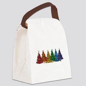 Rainbow Christmas Trees Canvas Lunch Bag