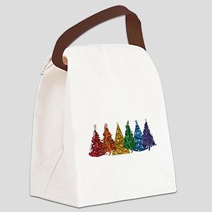 Rainbow Christmas Trees Canvas Lunch Bag