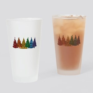 Rainbow Christmas Trees Drinking Glass