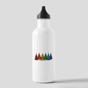 Rainbow Christmas Trees Water Bottle