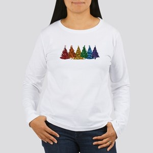 Rainbow Christmas Trees Long Sleeve T-Shirt