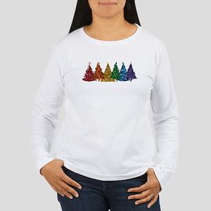Rainbow Christmas Trees Long Sleeve T-Shirt