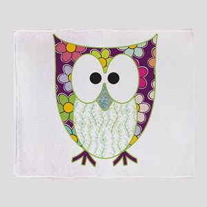 Floral Patchwork Owl Throw Blanket