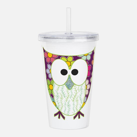 Floral Patchwork Owl Acrylic Double-Wall Tumbler