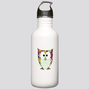 Floral Patchwork Owl Water Bottle