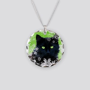 BLACK CAT & SNOWFLAKES Necklace Circle Charm