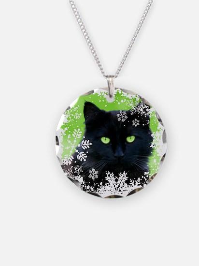BLACK CAT & SNOWFLAKES Necklace