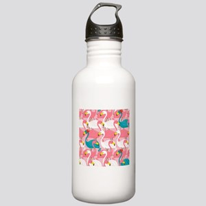 PINK AND BLUE FLAMINGOS Water Bottle