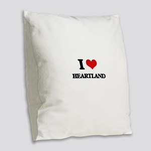 I Love Heartland Burlap Throw Pillow