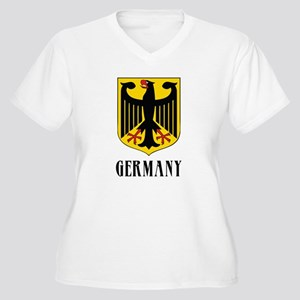 German Coat of Arms Women's Plus Size V-Neck T-Shi