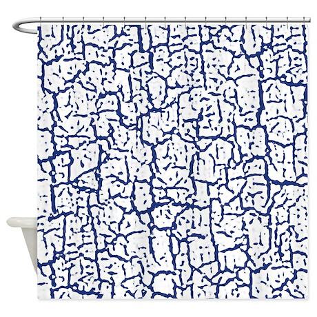 dark blue and white peeling crackle shower curtain by simplefavorites. Black Bedroom Furniture Sets. Home Design Ideas