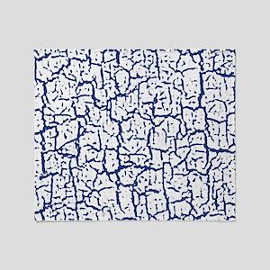 Dark Blue and White Peeling Crackled Throw Blanket