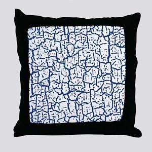 Dark Blue and White Peeling Crackled Throw Pillow