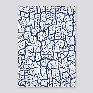 Dark Blue and White Peeling Crackle 5'x7'Area Rug