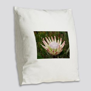 South African Protea flower in Burlap Throw Pillow