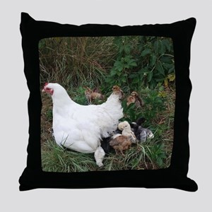 Patience and Baby Chicks Throw Pillow