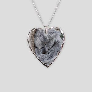 Sleeping Koala baby Necklace Heart Charm