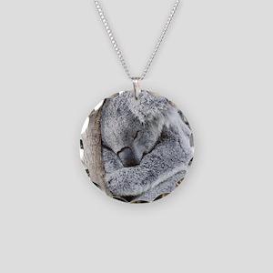 Sleeping Koala baby Necklace Circle Charm