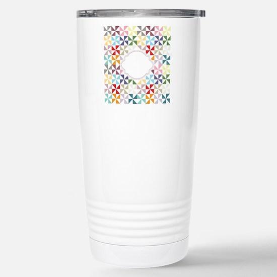 Colorful Pinwheels White Dotted Travel Mug